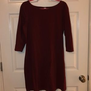 Burgundy Old Navy fitted cotton dress